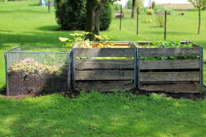 Three compost bins of different styles