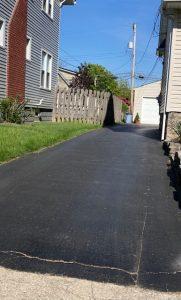 a freshly sealed driveway